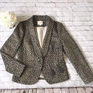 Ann Taylor Loft Leopard wool blazer